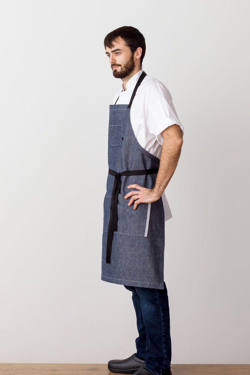 Classic Chef Apron, Blue Denim with Black Straps, Men or Women