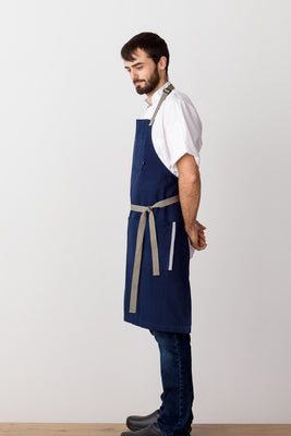 Classic Chef Apron, Navy with Tan Straps, Men or Women