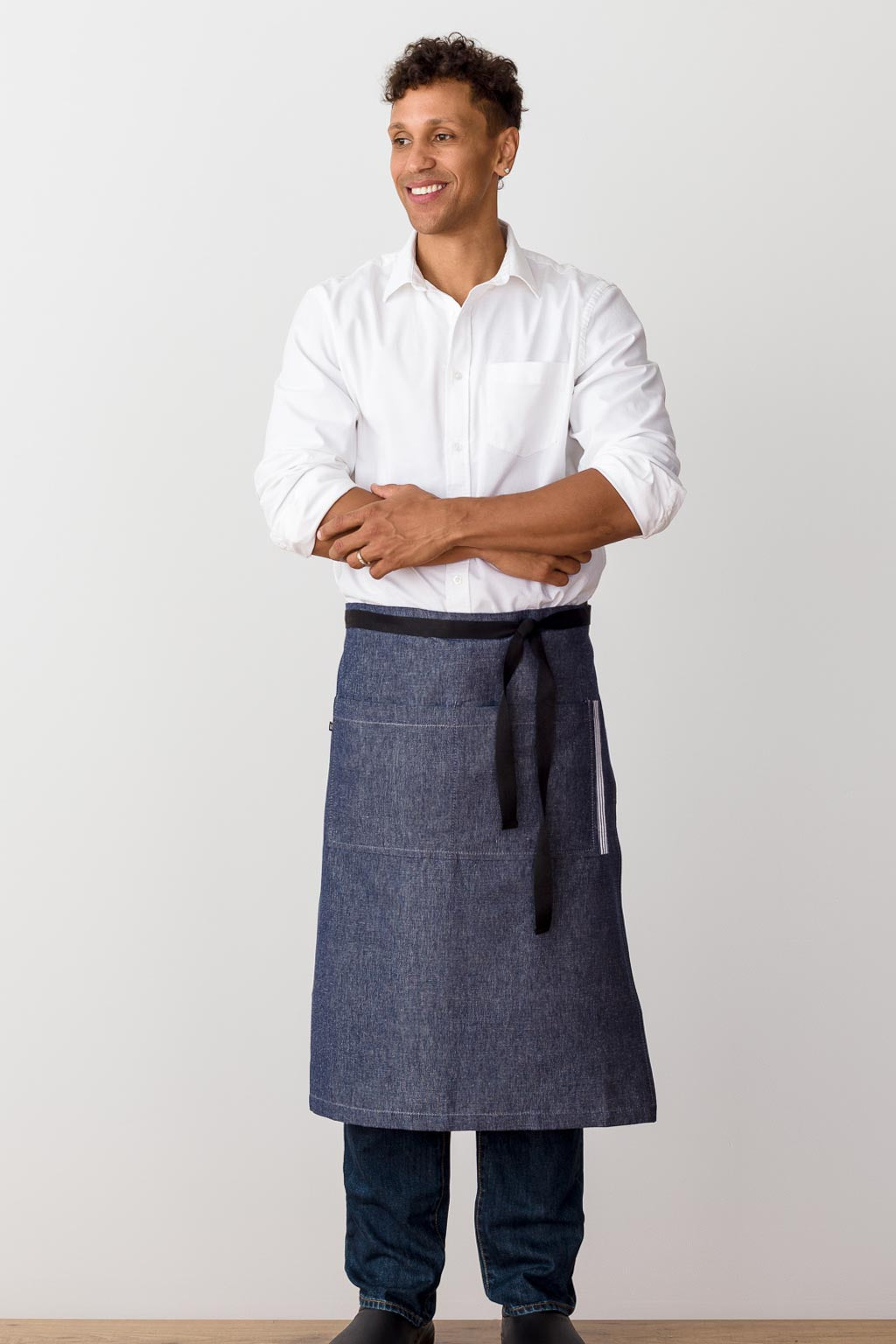 Bistro Longy Apron Blue Denim with Black Straps, for Men or Women