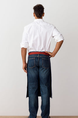 Bistro Longy Apron Blue Denim with Red Straps, for Men or Women