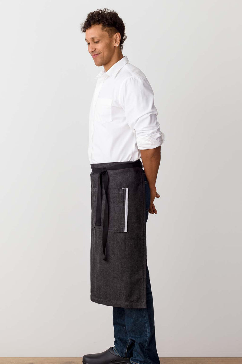Bistro Longy Apron Charcoal with Black Straps, for Men or Women