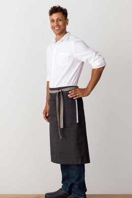 Bistro Longy Apron Charcoal with Tan Straps, for Men or Women