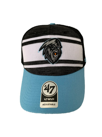 Adult Hat | Stripes | Dark Yeti with Orange Tongue | Black + Grey + White + Blue