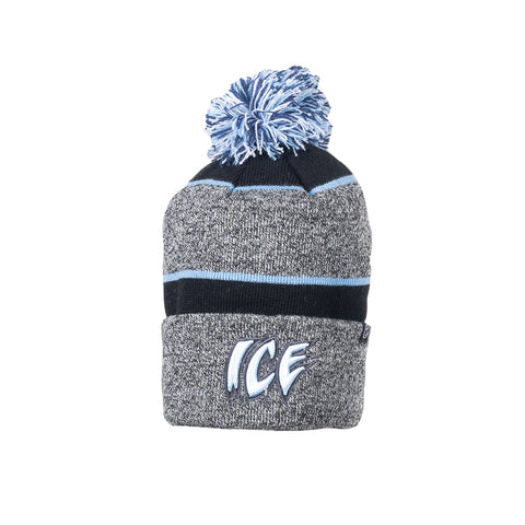 Adult Toque | ICE Wordmark | Blue & Black Stripes