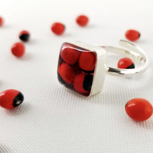 Huayruro Bean - Metal Ring Adjustable - Red & Black