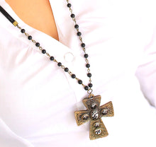 Load image into Gallery viewer, Elder Flower - Vintage Large Bronze Gothic Cross Pendant Necklace & Earrings Set - Black