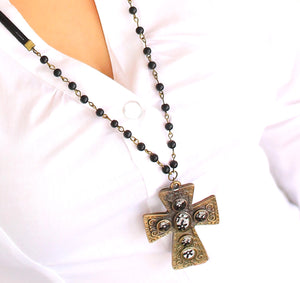 Elder Flower Gothic Cross - Vintage Large Bronze Gothic Cross Pendant Necklace & Earrings Set - Red