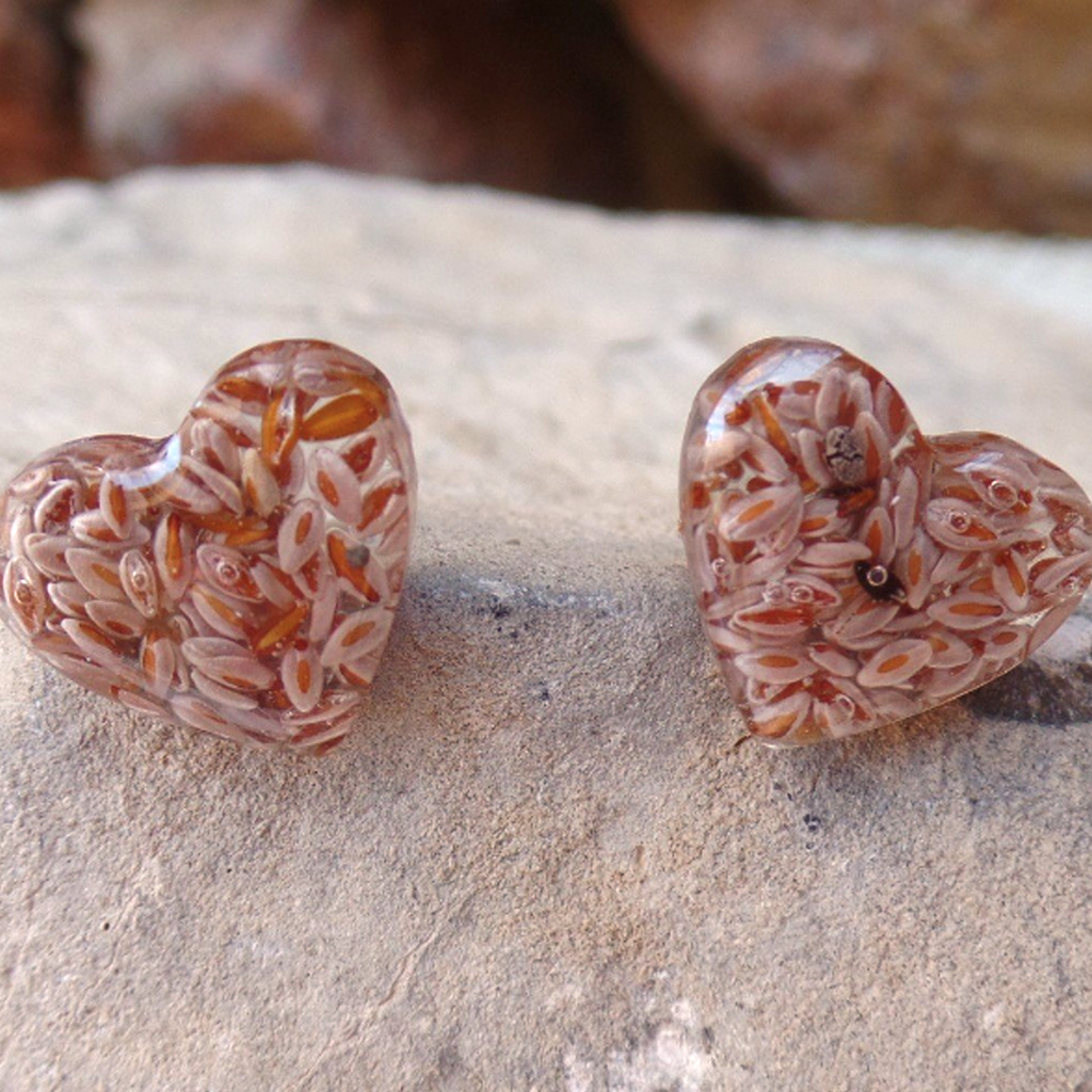 Psyllium - Heart Shape Stud Earrings - Light Brown