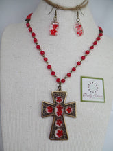 Load image into Gallery viewer, Elder Flower Gothic Cross - Vintage Large Bronze Gothic Cross Pendant Necklace & Earrings Set - Red