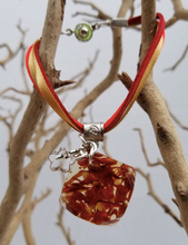 Load image into Gallery viewer, Red Pepper Bracelet  - Square Pendant with Charms - Red