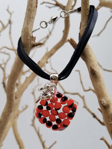 Huayruro Bean Bracelet - Square pendant with Charms - Red & Black