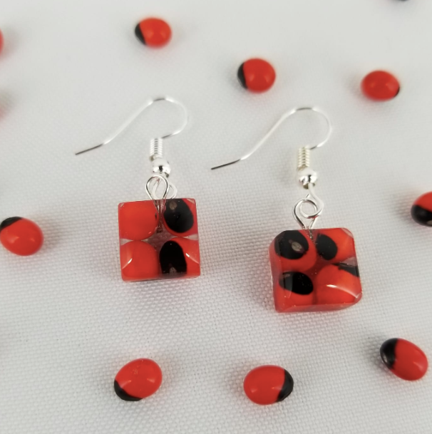 Huayruro Bean - Square  Earring - Red & Black