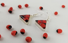 Load image into Gallery viewer, Huayruro Bean - Triangle Metal Earring - Red & Black