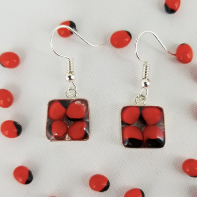 Huayruro Bean - Square Metal Earring - Red & Black
