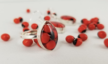 Load image into Gallery viewer, Huayruro Bean - Oval Metal Adjustable Ring - Red & Black