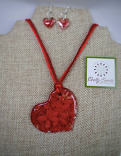 Load image into Gallery viewer, Penta Flower Complete Set - Side Heart Necklace and Earrings - Red
