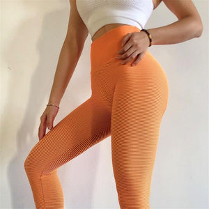 Orange Stripe Scrunch Leggings | Daniki Limited