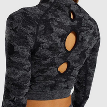Load image into Gallery viewer, Black Camouflage Long Sleeve Fitness Set | Daniki Limited