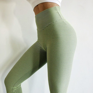 Green Stripe Scrunch Leggings | Daniki Limited