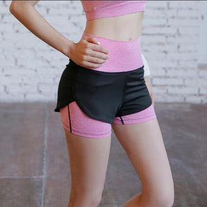 Pink Double Layer Fitness Shorts | Daniki Limited