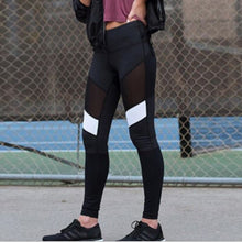 Load image into Gallery viewer, Black/White Mesh Spliced Leggings