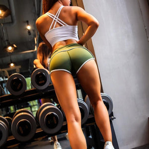 Green Old School Style Fitness Shorts