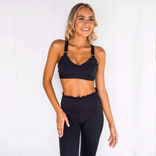 Load image into Gallery viewer, Black Ruffled Fitness Set  Daniki Limited