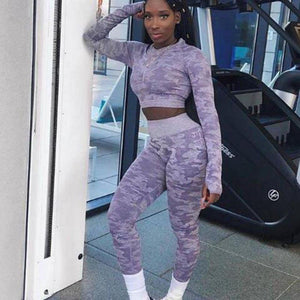Purple Camouflage Long Sleeve Fitness Set
