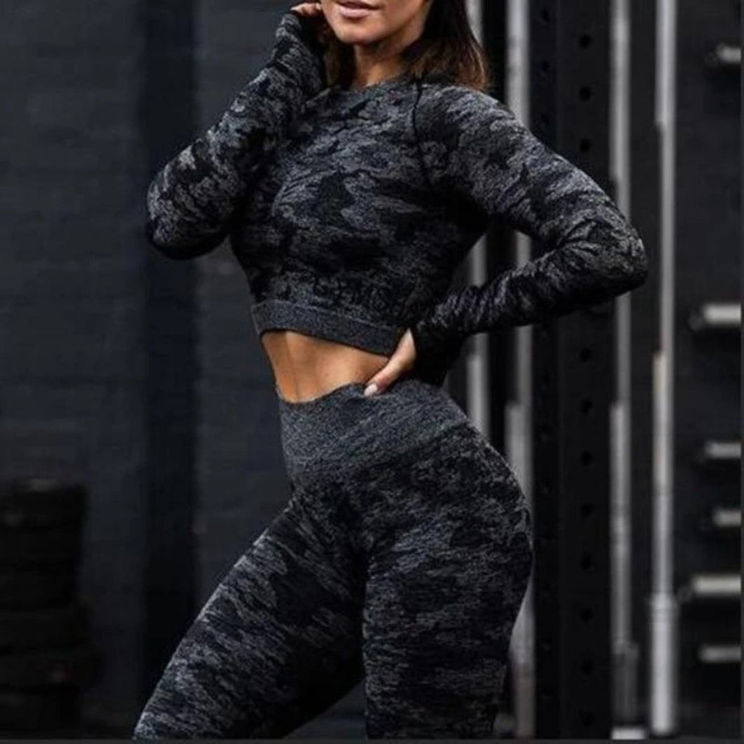 Black Camouflage Long Sleeve Fitness Set
