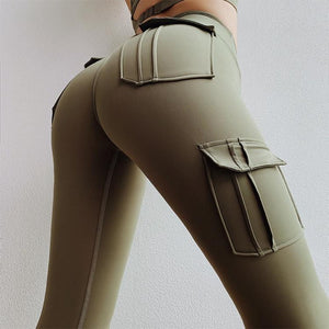 Green High Waist Pocket Leggings | Daniki Limited