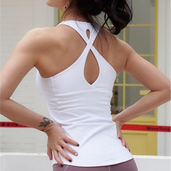 White Cross Back Fitness Top | Daniki Limited