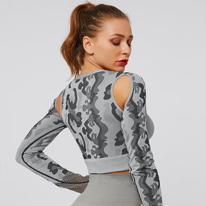 Grey Mesh Camo Fitness Top | Daniki Limited