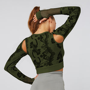 Green Mesh Camo Fitness Top | Daniki Limited