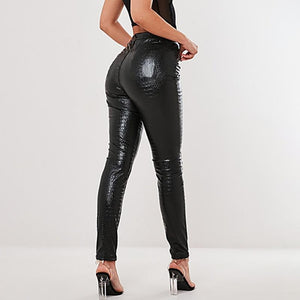 Black Snakeskin Pants | Daniki Limited