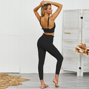 Black Ruffled Fitness Set  Daniki Limited