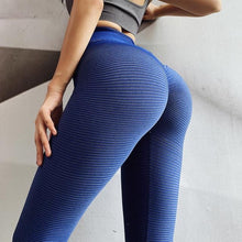 Load image into Gallery viewer, Blue Stripe Scrunch Leggings | Daniki Limited
