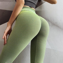 Load image into Gallery viewer, Green Stripe Scrunch Leggings | Daniki Limited