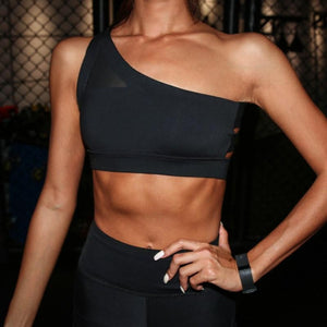 Black Oblique Sports Bra | Daniki Limited