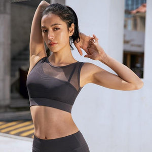 Gray Sweet Mesh Sports Bra | Daniki Limited
