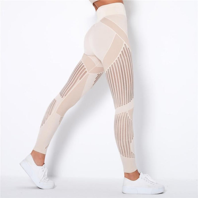 Cream Webbed Mesh Leggings | Daniki Limited