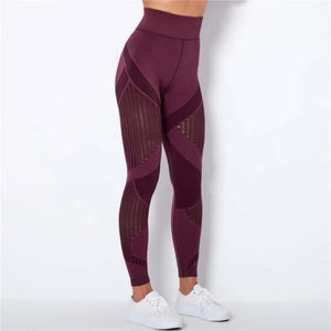 Wine Webbed Mesh Leggings | Daniki Limited