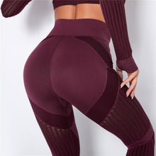 Load image into Gallery viewer, Wine Webbed Mesh Leggings | Daniki Limited