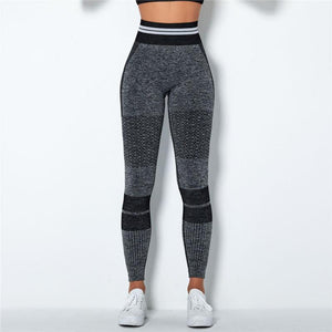 Dark Grey Stripe Band Leggings | Daniki Limited
