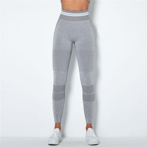 Light Grey Stripe Band Leggings | Daniki Limited