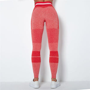 Red/Pink Stripe Band Leggings | Daniki Limited