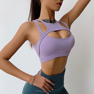 Purple Crosscut Sports Bra | Daniki Limited