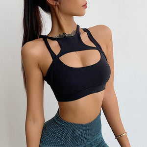 Black Crosscut Sports Bra | Daniki Limited