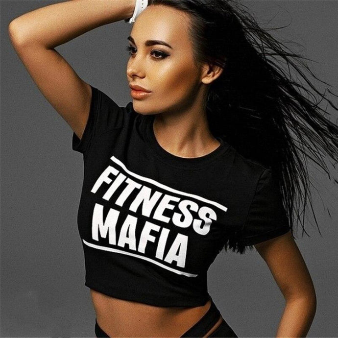 Black Fitness Mafia Crop Top | Daniki Limited