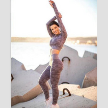 Load image into Gallery viewer, Purple Camouflage Long Sleeve Fitness Set | Daniki Limited