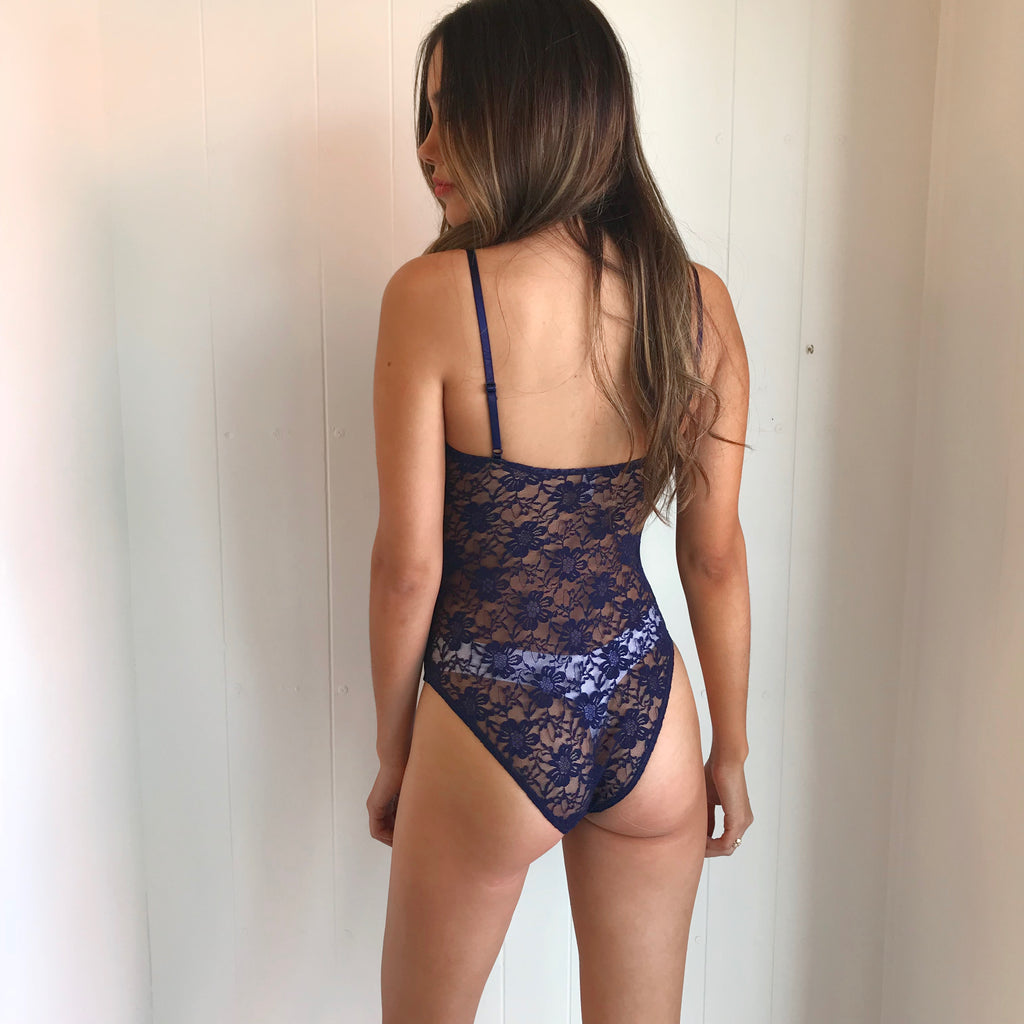 Navy Floral Lace Bodysuit by Lace Lab Intimates